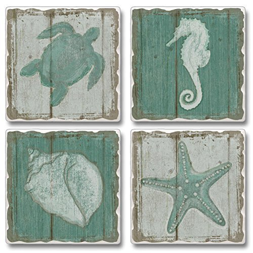 Along the Shore Turtle Seahorse Shell Starfish Tumbled Stone Coasters Set of 4