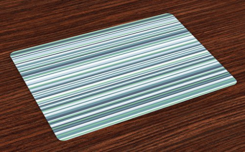 Striped Place Mats Set of 4 by Ambesonne Abstract Narrow Bands Group of Long Same Bars Vintage Geometric Artwork Image Print Washable Placemats for Dining Room Kitchen Table Decoration Teal Blue