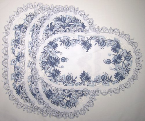 Delft Blue Embroidered Dutch Style Flower Placemat Set of 4 11 X 17 Oval Shaped Washable Polyester