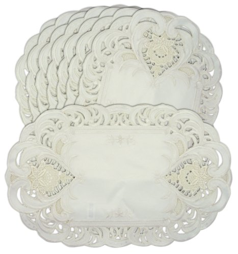 Embroidered Cream Lace Flower Placemats Set of 8 11x17 Oval Shaped Machine
