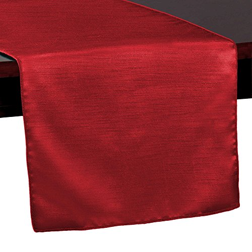 Ultimate Textile Reversible Shantung Satin - Majestic 14 x 108-Inch Table Runner Holiday Red