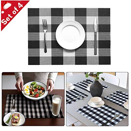 Onene Set of 4 Buffalo Check Placemats Plaid Checkered Placemats Christmas Table Mats Easy to Clean Non-Slip Place Mats Heat Resistant Kitchen Table Mats for Dining Table DecorationBlack and White