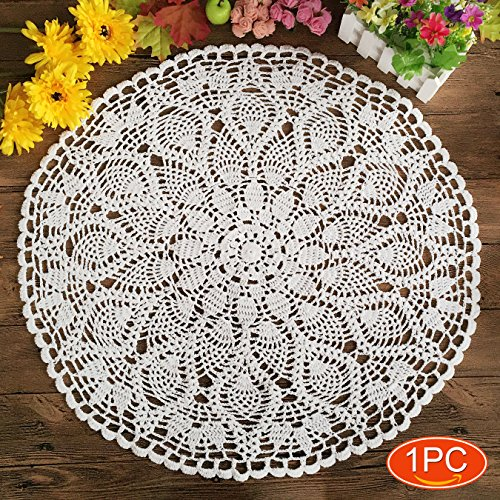Elesa Miracle 22 Inch 1pc Handmade Crochet Cotton Lace Table Placemats Sofa Doilies Value Pack Waterlily Beige  White 1pc-22 Inch White