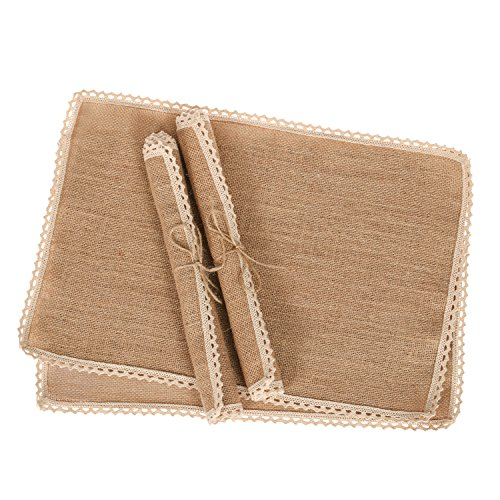 Lings moment Rustic Burlap Placemats Country Vintage Wedding Party Decoration Farmhouse Kitchen Table Decor Table mats set of 4
