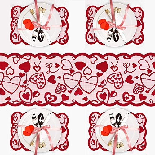 LWMEY Valentines Day Lace Table Runner and Placemats - Red 1PC Table Runner 13 x 72 Inch and 4 PCS Lace Table Place mats for Home Wedding Party Mothers Day Valentines Day Table Decorations