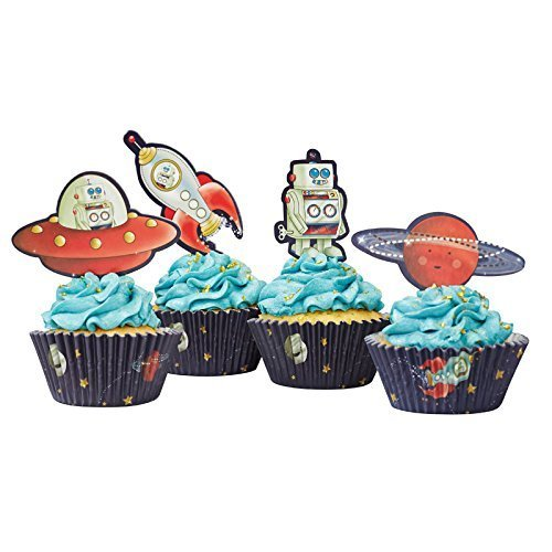Ginger Ray Space Adventure Party Spaceship Robot Cupcake Cases Toppers Mixed
