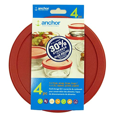 Anchor Hocking Improved 30 Stronger Replacement Lids 1x7cup1x4cup1x2cup1x1cup red Round lid