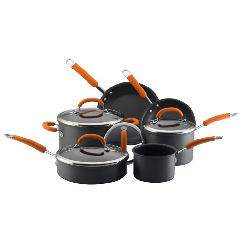 Rachael Ray Hard Anodized Nonstick 10-Piece Cookware Set Orange