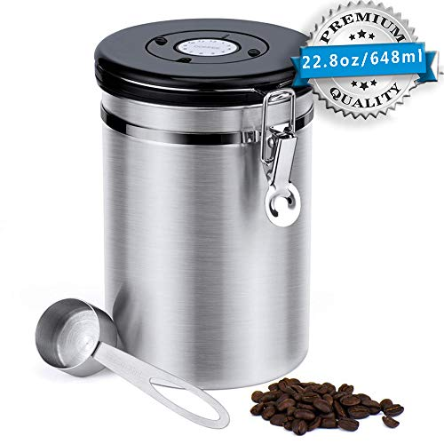 Stainless Steel Coffee Canister 228 oz Airtight Coffee Storage Containers with Built-in CO2 Gas Vent Valve Date Tracking Wheel Scoop Vacuum Storage Jar Keep Coffee Sugar Tea FreshSliverLarge
