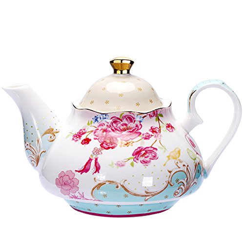 Teapot Bone China Tea Pot Vintage Royal Style Red Floral -4 Cup 850ml