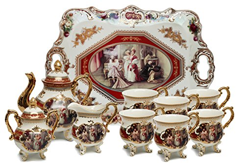 Royalty Porcelain 10-Piece Antique RED Vintage Dining Tea Cup Set Service for 6 Handmade and Hand-Painted 24K Gold Bone China Tableware