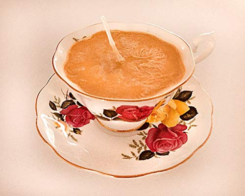 Teacup Candle - Vintage Royal Albert China Cup withJune Delight Rose design with Just For You Scented Soy Wax Candle