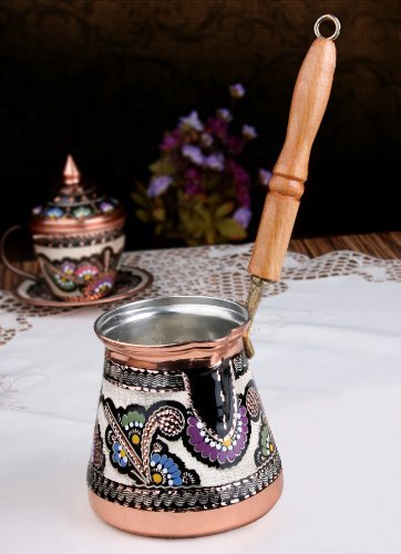 Unique Copper Milk Warmer Stovetop Pot CezveIbrik XXL 20 Oz Hand made hand painted in Turkey