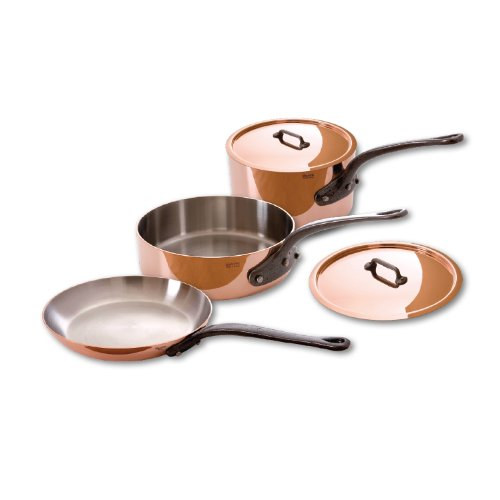 Mauviel Made In France MHeritage Copper M250C 650100 5-Piece Copper Cookware Set Cast Iron Handle