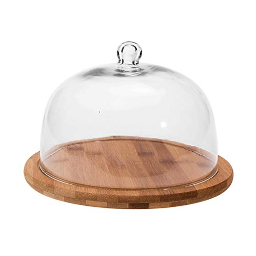Japanese Style Glass Cake Pan With Lid Fruit Salad Wooden Tray Lead-free Glass Dust Cover Cake Display Plate Afternoon Tea Fruit Dish Dessert Rack 6810 Inch Cake Tray Size  S