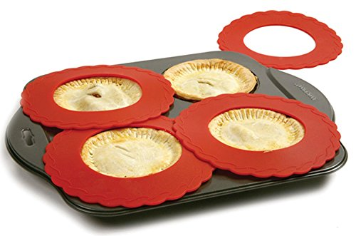 Set of 4 Mini Silicone Crust Shields - Protect Edge of 5 6 Pies From Burning Mini Pie Pan Shields