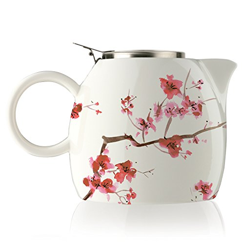 Tea Forte PUGG 24oz Ceramic Teapot with Improved Stainless Tea Infuser Loose Leaf Tea Steeping For Two Cherry Blossoms