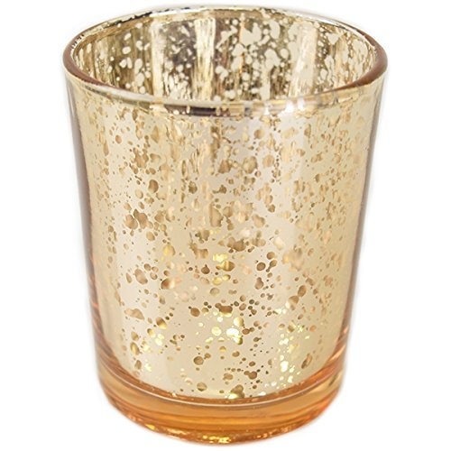 Just Artifacts Mercury Glass Votive Candle Holder 275H 12pcs Speckled Gold -Mercury Glass Votive Tealight Candle Holders for Weddings Parties and Home Decor