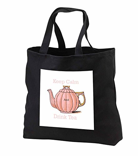 Florene Keep Calm Fun Sayings - Image of Keep Calm And Drink Tea With Vintage Teapot - Tote Bags - Black Tote Bag JUMBO 20w x 15h x 5d tb_238658_3