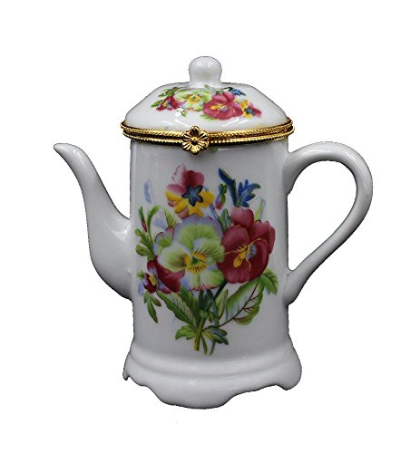 Generic Vintage Teapot Shape Porcelain Toothpick Holder Ceramic Jewelry Storage Box with Flower