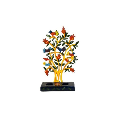Yair Emanuel Shabbat Candlesticks with Bird Backsplash