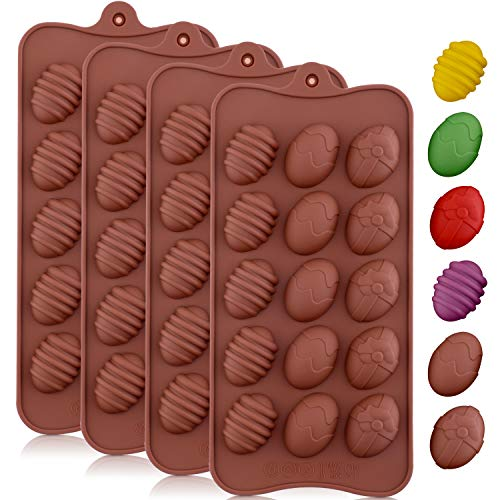 Jovitec 4 Pieces Easter Egg Chocolate Mold Easter Candy Cookie Mould Silicone Baking Mold for Party Jelly Ice Cube