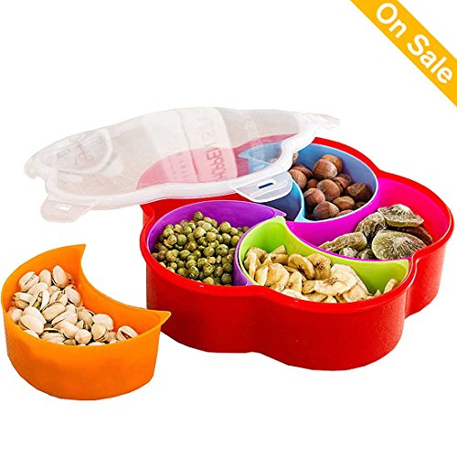 Appetizer Plates Snack Bowls Party Tableware Decorative Trays Food Container Candy Nuts Trays with Lid Plastic Fruit Party Plates with 5 Compartments for Christmas Party and Kitchen