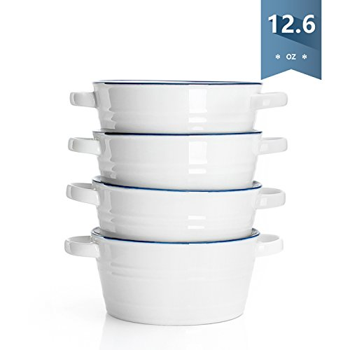 Sweese 126-Ounce Porcelain Bowls with Double Handles - Great for Ice Cream Dessert Snacks and Fruit - Set of 4 Blue Trim White