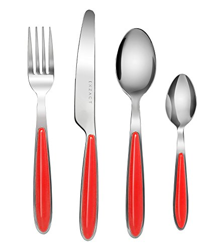 Exzact EX07 - 16 pcs Flatware Cutlery Set - Stainless Steel With Color Handles - 4 Forks 4 Dinner Knives 4 Dinner Spoons 4 Teaspoons  Red x 16