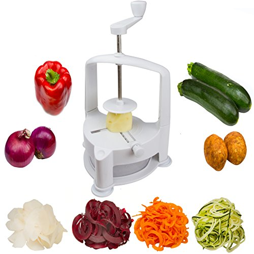 Brieftons Vertico Spiralizer: Vegetable Spiral Slicer, Fresh Veggie Spaghetti & Pasta Maker For Low Carb Healthy