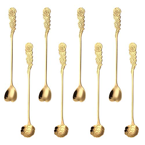 Long Handle Ice Tea Spoon Stainless Steel Coffee Spoons Flower Teaspoons Set Dessert Spoons Cocktail Stir Spoon for Mixing Drinks Appetizer Kitchen Dinning Bar gold