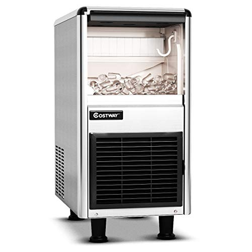 COSTWAY Commercial Ice Machine 110LB24h Stainless Steel Machine 33LBS Storage Capacity WLCD Display Free-Standing Ice Maker Design High efficient Compressor for Restaurant Bar