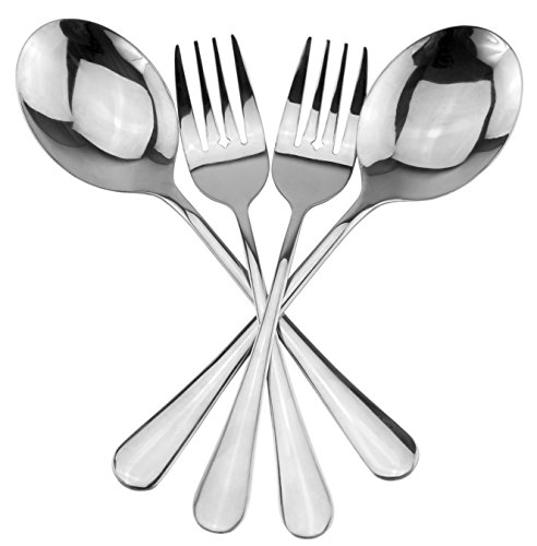 Serving Spoons Large Serving Forks Set 4 pack 2 of each Buffet Banquet Style Elegant Classic Serving Utensils Durable Stainless Steel w Mirrored Finish 4-piece set