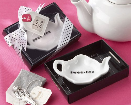 Sweet-Tea Ceramic Tea-Bag Caddy in Black White Serving-Tray Gift Box - Baby Shower Gifts Wedding Favors Set of 12