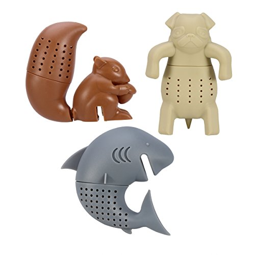 OUNONA 3pcs Silicone Tea Strainer  Tea Infuser  Tea Filter  Tea Gloves Animal Shap Infuser Herbal Spice Filter Diffuser Squirrel Shark Pug