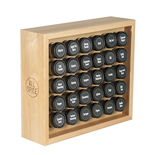 AllSpice Wooden Spice Rack Includes 30 4oz Jars- Maple