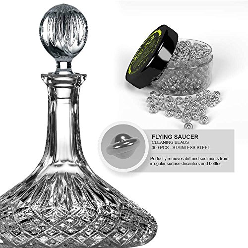 Reusable Stainless steel Cleaning Beads Agents NEW STYLE Flying Saucers shape - For Glass Decanters  Wine Bottles  Carafes  Narrow Spouted Vases  Hard To Reach Spots Erase Dirt–Limescale–Sediment