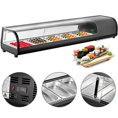VBENLEM 47 cuft Sushi Bar Showcase 5 x 12GN Trays Countertop Sushi Cooler Display Refrigerators 132L Prep Station with Tempered Glass ABS Shell Suit for Commercial Restaurants Bakeries Bars