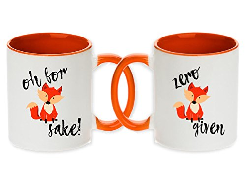 Pair of Oh For Fox Sake Zero Fox Given Coffee Mug Set of 2 pcs - The Cutest Funniest and Perfect Gift for Anyone