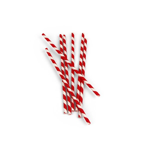 Kikkerland Biodegradable Paper Straws Red and White Striped Box of 144