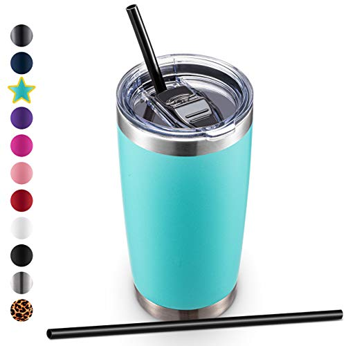 20oz Stainless Steel Tumbler with Lid and Straw Vacuum Insulated Tumbler Cup Double Wall Coffee Tumbler by Aloufea Powder Coated Travel Coffee Mug Gift for Home Office Outdoor Mint 1 Pack