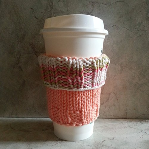 2 in 1 Coffee Cup Cozy Peach Ombre Cuff with Peach Body