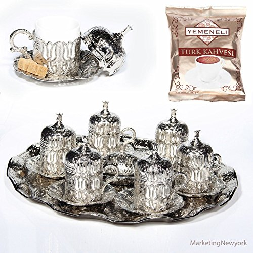 27 Pc Ottoman Turkish Greek Arabic Coffee Espresso Serving Cup Saucer Silver
