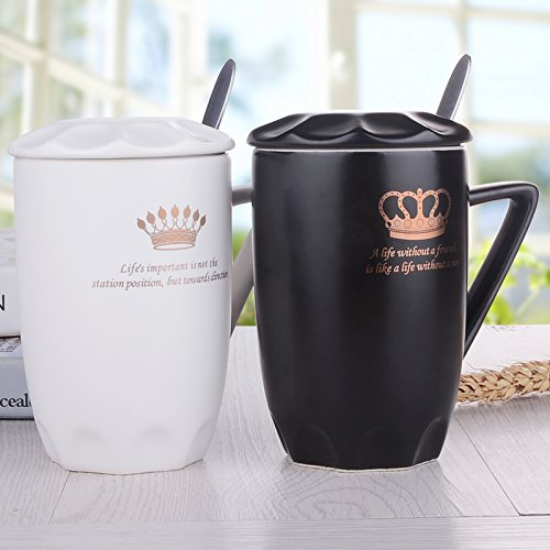 BBujsgH The mug breakfast 1 cups of couples Ceramic cups with Lid of water bowl Office Coffee Cup Kit  king queen  80117mm