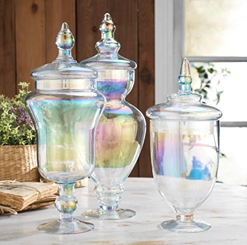 Classic Home Large Glass Luster Apothecary Jars Wedding Candy Buffet Containers Set of 3
