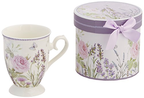 Delton Products Matching Keepsake Box Porcelain Mug in Lavender and Rose Pattern