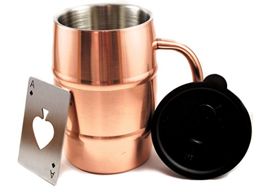 Polar Mugs Double Wall Air Insulated Stainless Steel Mug with Lid and Bottle Opener 169-Ounce Copper