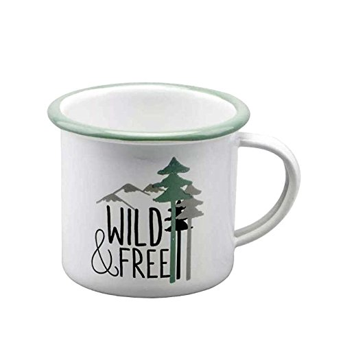 Enamel Mug with Green Rim Camping Coffee Tea Cup with Tree Pattern and WILD FREE Character Design Great or Outdoor or Picnic 66oz 350ml tree