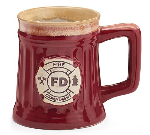 Fireman 15 Oz Porcelain Coffee MugCup Burgundy Stein Shape with Fire Department Crest