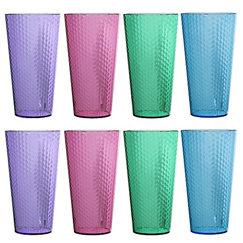 Hampton 28-ounce Multi Color Plastic Cup Tumbler  set of 8 in 4 Assorted Colors